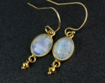 Rainbow Moonstone Earrings - June Birthstone Dangle Earrings