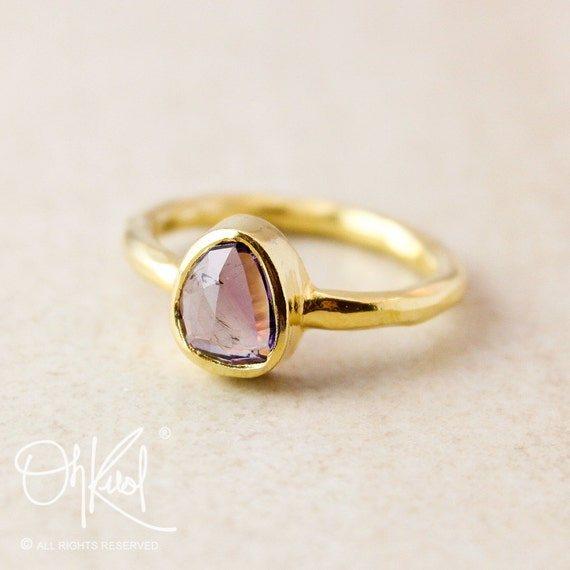 Gold Purple Amethyst Ring- February Birthstone Ring - Organic Shape