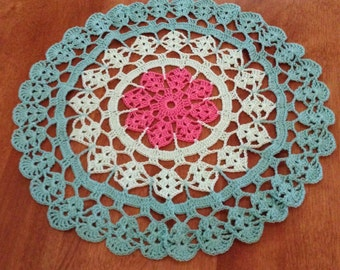 Pretty Pink Flower Hand crocheted  Doily 13 inches diameter in Pink Mint and Aqua Spring garden country victorian decor