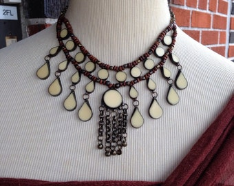 Egyptian Vintage beaded glass chain necklace