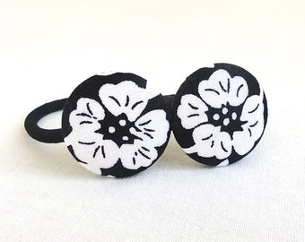 Ponytail Holder Set of 2 - Black and White Blossoms - READY TO SHIP