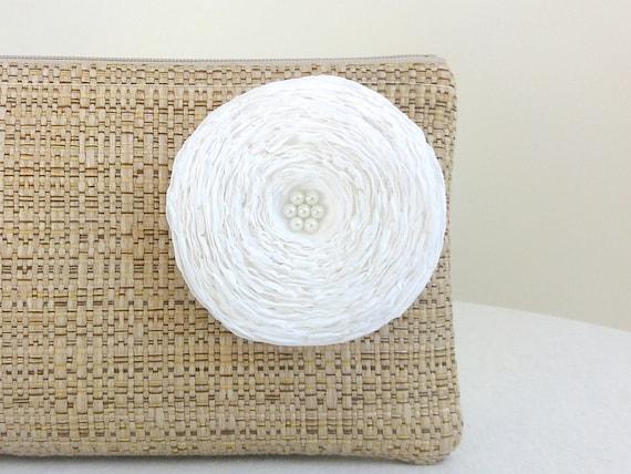 Tan Woven Clutch Handbag / White Fabric Flower