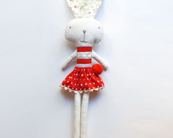 white soft toy bunny with red polka dots skirt and pompom - kids Easter gift
