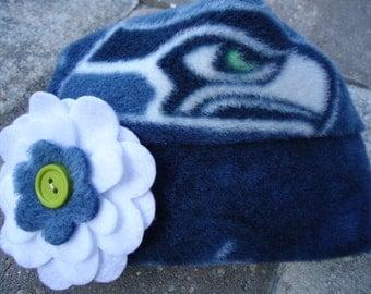Seattle Seahawks Fleece Flower Hat - Sizes Newborn baby to Adults