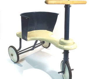 Antique Wood and Metal Tricycle Vintage 1920s Toy Scooter