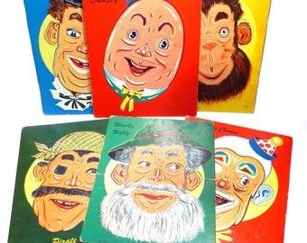 Set of Six Faces Puzzles Vintage 1960s Change a Face SP Co Puzzle Set