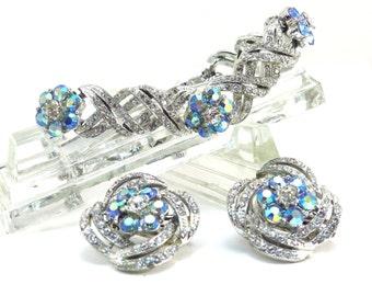 Singed Coro Floral Bracelet and Earring Set Vintage 1950s Pegasus Coro Rhinetone Set