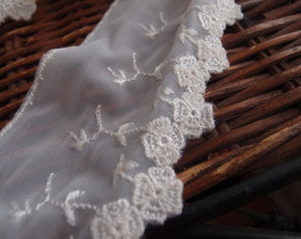 Vintage Lace Lingerie Yardage Sewing Supplies Wedding Trim White Floral Four Yards