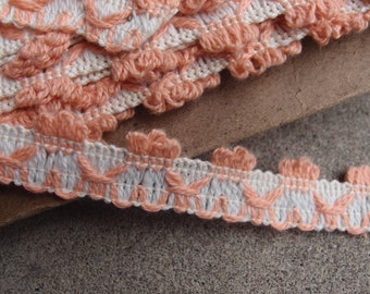 Vintage Trim Cotton Fringe Coral Salmon Cream Shabby Chic Upholstery Decorator Yardage