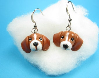 Beagle Earrings, Beagle jewelry beagle gifts dog earrings jewelry miniature animal dog polymer clay dog lover gifts for her brown cute charm