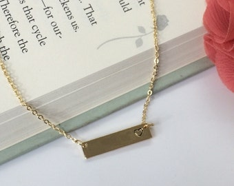Gold Bar necklace with stamped heart -  gold heart necklace- stamped heart bar necklace - choose carded with message or in silver gift box