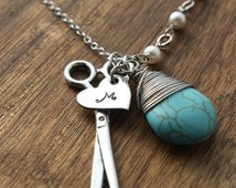 Hairdresser Gifts Hairdresser Necklace Hairdresser Jewelry Scissors Necklace Stylist Necklace Seamstress Necklace Personalized Necklace