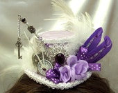 Princess Beauty Lilac white silver vintage clock  and key mini top hat custom made for Sue
