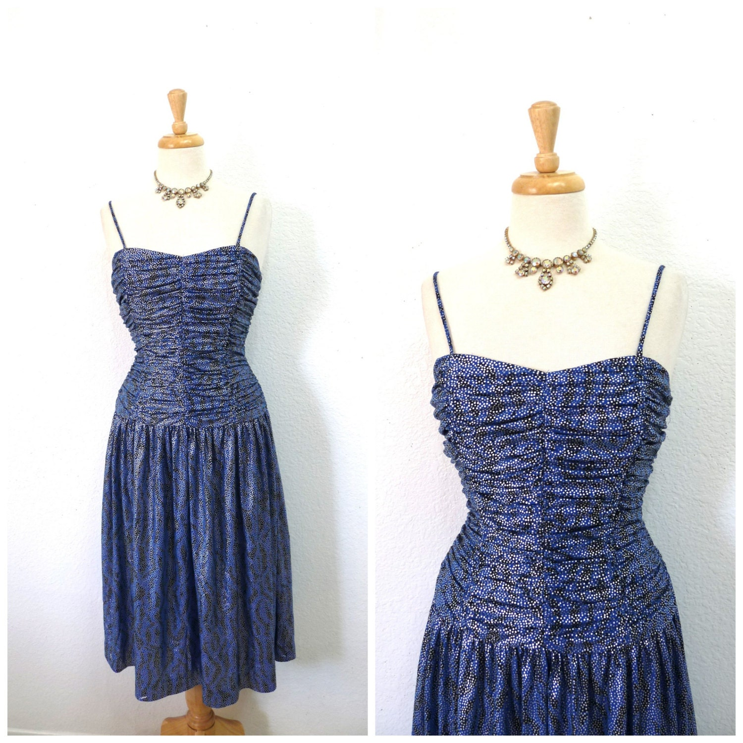 80s Blue Silver Dress RIMINI Bridesmaid Dress Evening Ruched