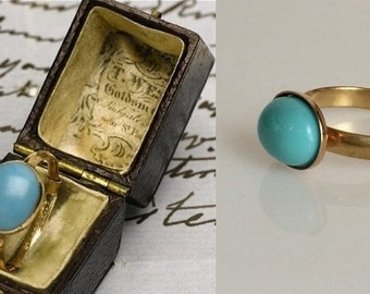 Jane Austen Inspired Gold Turquoise Ring