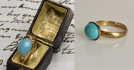 Jane Austen inspiró anillo turquesa (oro o plata)