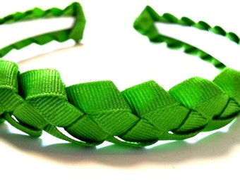 Green Braided Ribbon Headband 1/2 Inch