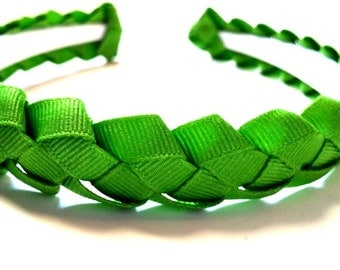 Green Braided Ribbon Headband 3/4 Inch