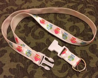 Adorable Owls Keychain Lanyard with removable key chain end