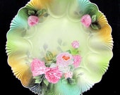SALE Vintage RS PRUSSIA Rose Bowl Pink Green Floral Porcelain Antique 10.5""