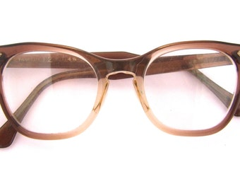 50s 60s Cat Eye Eyeglasses Women's 1950's 1960s Brown Translucent Frame Fade Out Frames