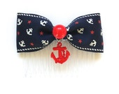 SALE - Rockabilly Sailor Doll Stars and Red Anchor Hair Comb - Navy - Nautical - Maritime - Stars - Retro