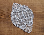 NC Monogram - vintage embroidered cotton lace monogram for all kind of embellishments i.e. wedding decor shabby chic deco personalisation