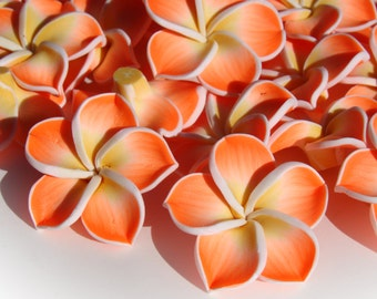 6Pc 38mm Plumeria Hawaiian Flower Beads, Orange, White & Yellow  Polymer Clay Chunky Gumball Beads A3
