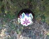 "10"" Mauve Gazing Ball w/Handpainted Passion Flower"
