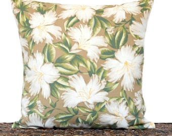 Tropical Floral Pillow Cover Cushion Hibiscus Mocha Sand Beige Green Yellow Coastal Decorative 15x15