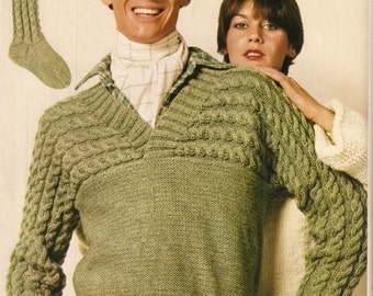 Man's sweater and thick, cabled socks to match knitting pattern
