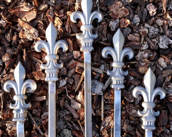 FIVE Total Fleur De Lis ALL Metal Hose Guides with cast iron finial tops