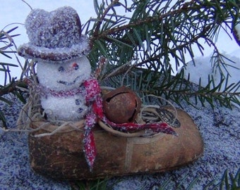 Primitive Folk Art Clay Snowman Doll in Old Slipper Shoe - Original Winter Collectible Sculpture in Vintage Child's Leather Shoe