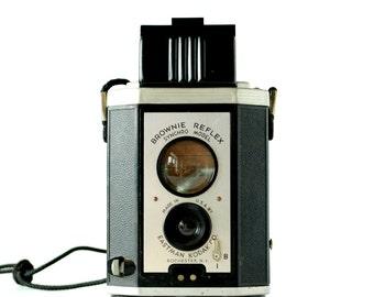 Vintage Kodak Camera Brownie Reflex Synchro Model 1940's 1950's Mid Century Style