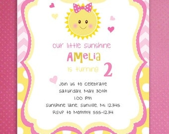 You Are My Sunshine Birthday Invitations Chevron and Polka dots Pattern Sunshine Birthday Party