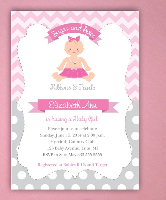 tutu cute baby shower invitations sugar and spice baby shower