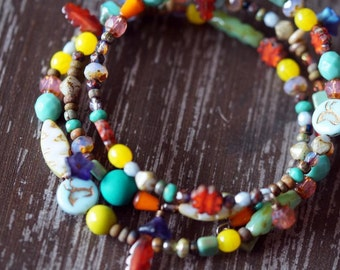 Mix Bead Bracelet - Memory Wire Bracelet - Wrap Bracelet - Bold Statement - Bead Soup Jewelry
