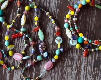 Bracelet and Necklace - Jewelry Set - Long Necklace - Wrap Bracelet - Bold Statement - Bead Soup Jewelry