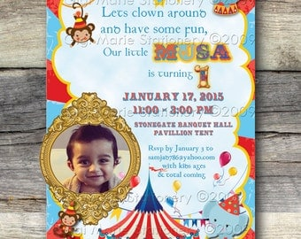 Carnival Cupcake Party - Circus Tent - Circus Animals - Carnival Photo Invite - Circus Invitation