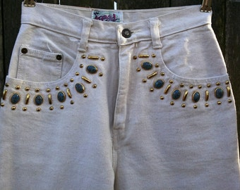High Waist 80s Jeans / Vintage Jeans with Bejeweled Waist by Appeal in Off White US Size 2