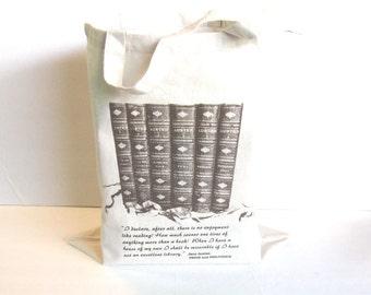 Jane Austen Book Bag, Pride and Prejudice Quote, Austen Tote Bag, Austen Wedding Bag, Book Tote