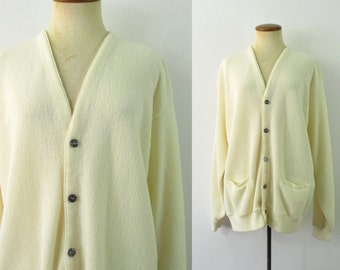 1970s Grandpa Cardigan Golf Sweater Cream Oversize Button Front Vintage 70s Slouchy V Neck Preppy Retro Pockets Long Sleeve Extra Large XL