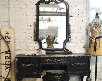Painted Cottage Chic Shabby Romantic Vanity and Stool VAN453