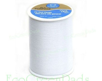 1+ Spool White Thread. 400 yards (365m) Coats and Clark Dual Duty white sewing thread. All purpose thread, ONE SPOOL 230A-1. Economy thread