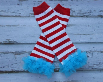 Red and white striped  leg warmers with turquoise blue  chiffon ruffles newborn-toddler-girls