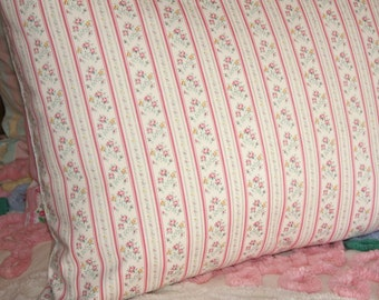 Sweet Tiny Pink Flowers Stripe Newly Handmade Vintage Ticking Pillow Sham or Cover for Standard or Queen Bed Pillow