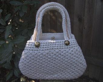 Raffia Straw Handbag White Straw Handbag 1950s 50s 1960s 60s White Raffia Handbag Straw Raffia Handbag Retro Mid Century Mad Men
