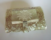 RESERVED: Vintage Patricia of Miami Lucite purse – iridescent, gold metallic thread, etched flower lid&sides; repair jewelry dresser storage