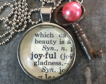 One Word Pendant with Vintage Key - Joyful
