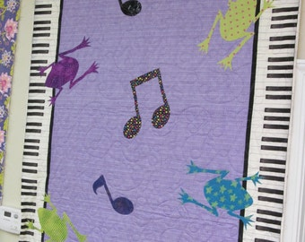 Piano/Frog Quilt/Wall Hanging Kit w/All Fabric-65.00